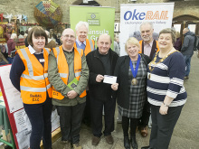 Cllr Anne Johnson, Chris Bligh Technical Advisor, Richard Searight Chair PRG, Cllr Michael Ireland (Chair OkeRAIL CIC and Deputy Mayor Okehampton), Mayor Okehampton, Cllr Jan Goffrey, Cllr Bob Rush and Tavistock Mayor Cllr Mandy Ewings